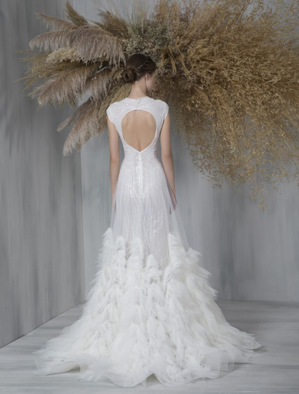 Cap Sleeve Glitter A-line Wedding Dress With Tulle Ruffle Overlay by Tony Ward - Image 2