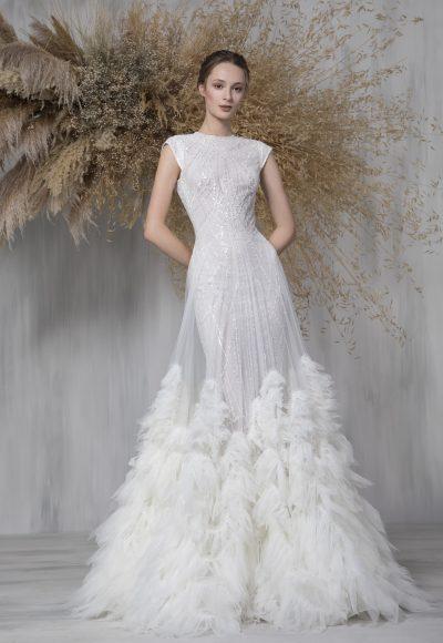 Cap Sleeve Glitter A-line Wedding Dress With Tulle Ruffle Overlay by Tony Ward