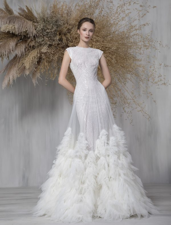 Cap Sleeve Glitter A-line Wedding Dress With Tulle Ruffle Overlay by Tony Ward - Image 1