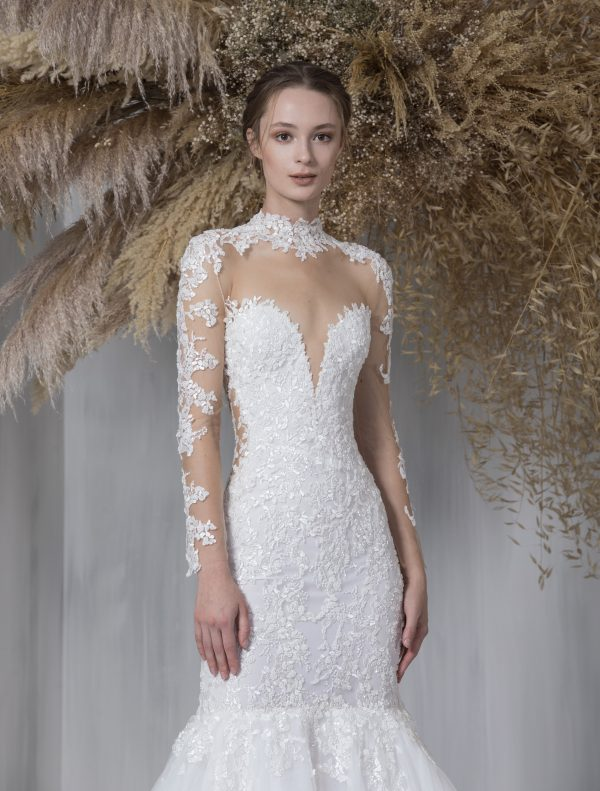 Illusion Long Sleeve Fit And Flare Wedding Dress With Tulle Skirt by Tony Ward - Image 2