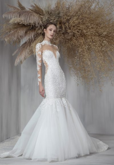 Illusion Long Sleeve Fit And Flare Wedding Dress With Tulle Skirt by Tony Ward