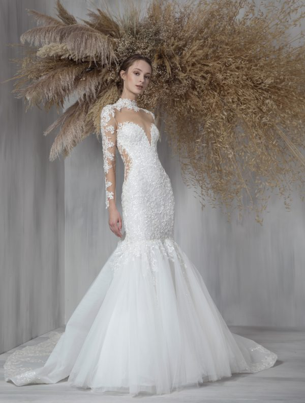Illusion Long Sleeve Fit And Flare Wedding Dress With Tulle Skirt by Tony Ward - Image 1