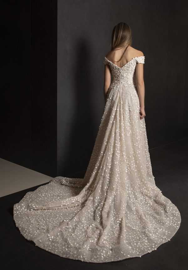 Off The Shoulder A-line Wedding Dress With 3D Leafs Throughout by Tony Ward - Image 2