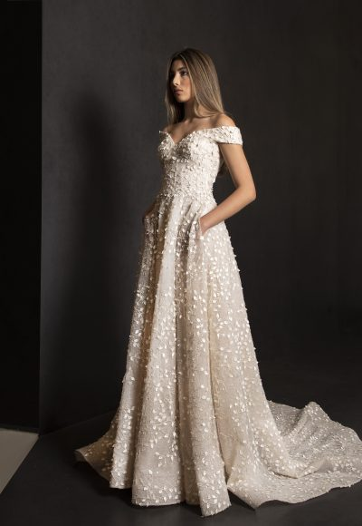 Off The Shoulder A-line Wedding Dress With 3D Leafs Throughout by Tony Ward