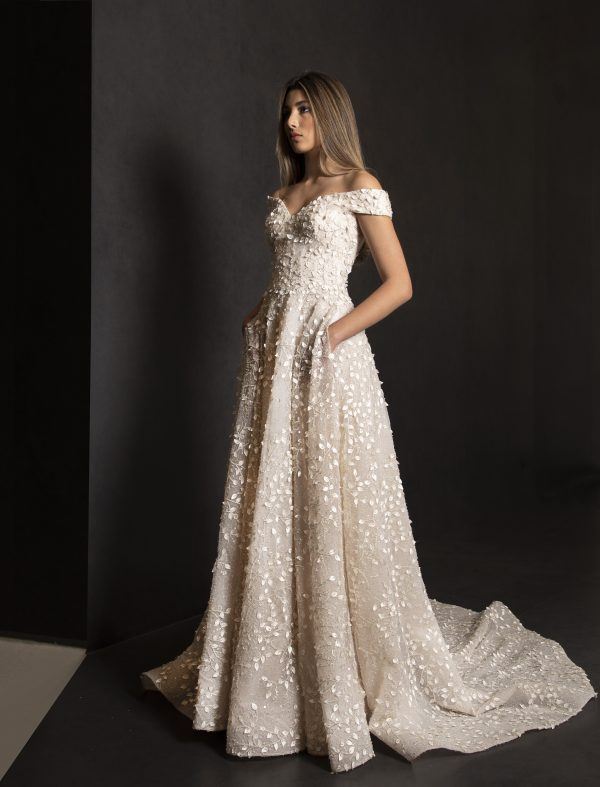 Off The Shoulder A-line Wedding Dress With 3D Leafs Throughout by Tony Ward - Image 1