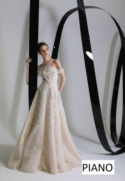 Off The Shoulder A-line Wedding Dress With Embroidered And Sparkle Floral Details by Tony Ward