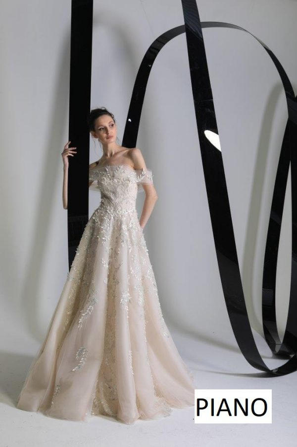 Off The Shoulder A-line Wedding Dress With Embroidered And Sparkle Floral Details by Tony Ward - Image 1