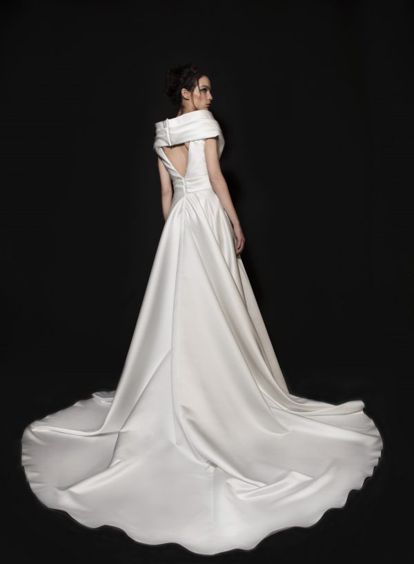 Satin A-line Wedding Dress With Front Slit by Tony Ward - Image 2