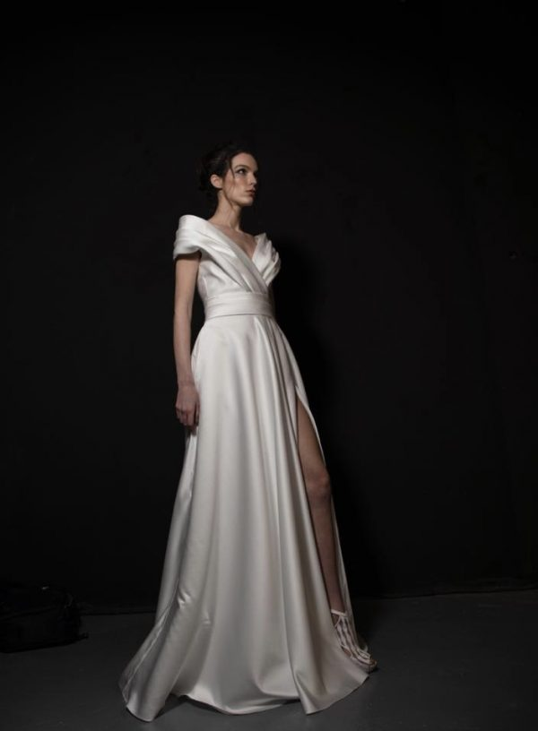 Satin A-line Wedding Dress With Front Slit by Tony Ward - Image 1