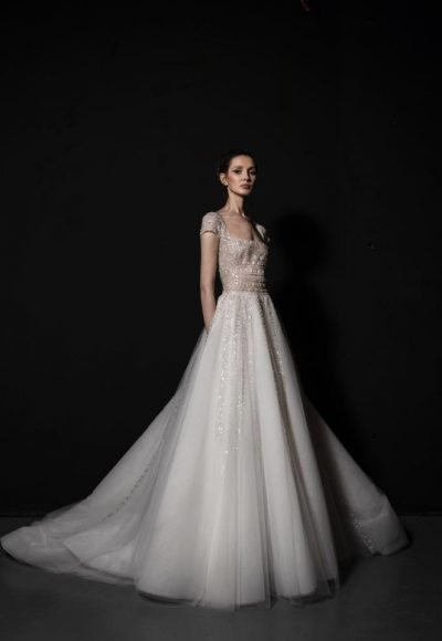 Short Sleeve A-line Wedding Dress With Embellished Bodice And Tulle Skirt With Sparkle Detailing by Tony Ward