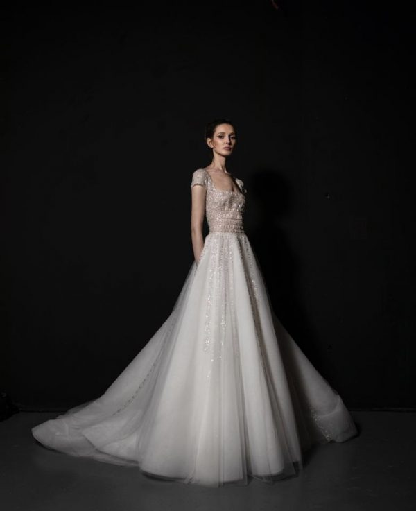 Short Sleeve A-line Wedding Dress With Embellished Bodice And Tulle Skirt With Sparkle Detailing by Tony Ward - Image 1