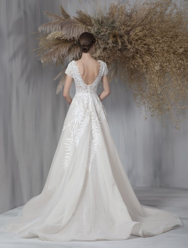 Short Sleeve V-neckline A-line Wedding Dress With Embroidered Tulle by Tony Ward - Image 2