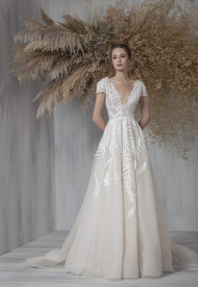 Short Sleeve V-neckline A-line Wedding Dress With Embroidered Tulle by Tony Ward