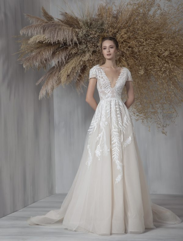 Short Sleeve V-neckline A-line Wedding Dress With Embroidered Tulle by Tony Ward - Image 1