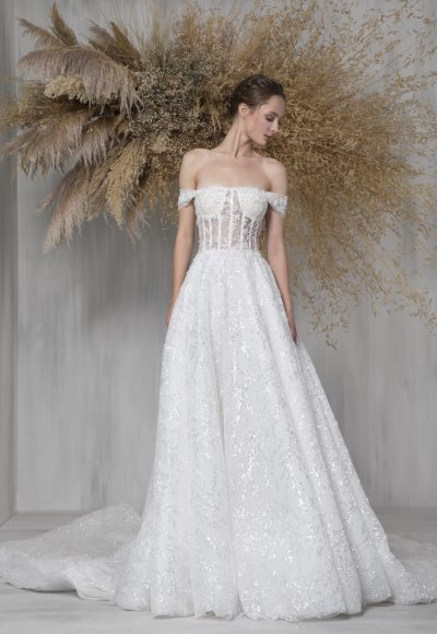 Strapless A-line Wedding Dress With Translucent Corset And Sparkle Details by Tony Ward