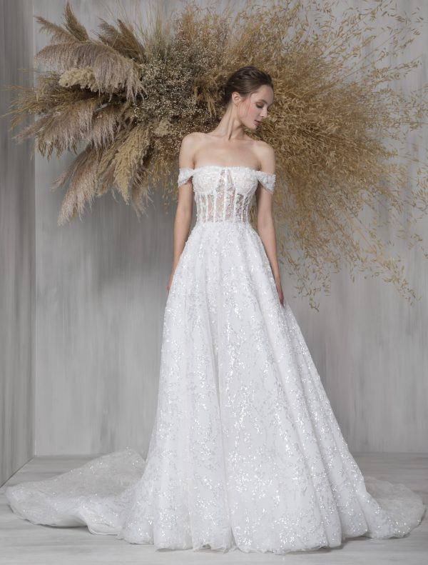 Strapless A-line Wedding Dress With Translucent Corset And Sparkle Details by Tony Ward - Image 1