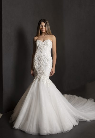 Strapless Mermaid Lace Bodice Wedding Dress With Tulle  Skirt by Tony Ward