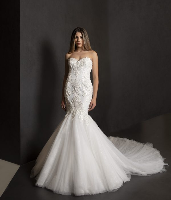 Strapless Mermaid Lace Bodice Wedding Dress With Tulle  Skirt by Tony Ward - Image 1