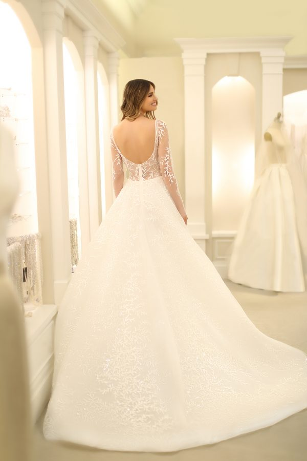 Illusion Long Sleeve A-line Wedding Dress With Beaded Lace by Michelle Roth - Image 2