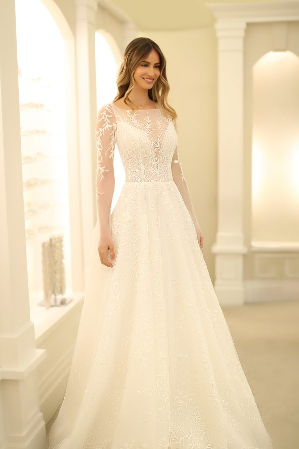 Illusion Long Sleeve A-line Wedding Dress With Beaded Lace by Michelle Roth - Image 1