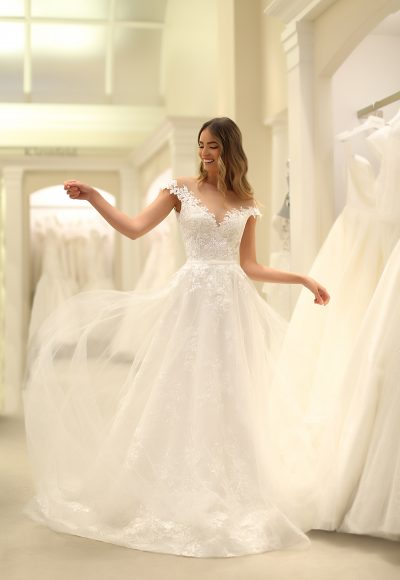 Off The Shoulder Bateau Neckline A-line Lace Wedding Dress With Overskirt by Michelle Roth