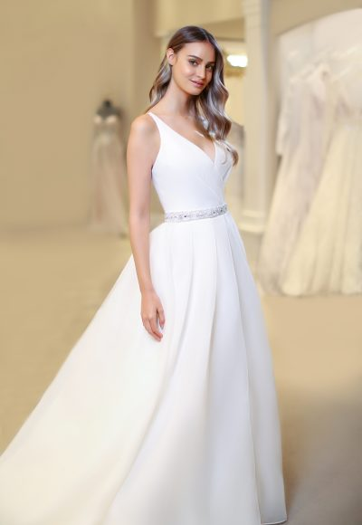 Sleeveless V-neckline Ball Gown Wedding Dress With Beaded Belt by Michelle Roth