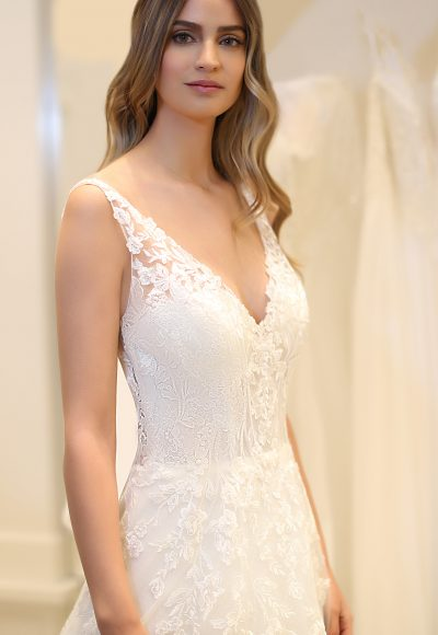 Sleeveless V-neckline Lace A-line Wedding Dress by Michelle Roth