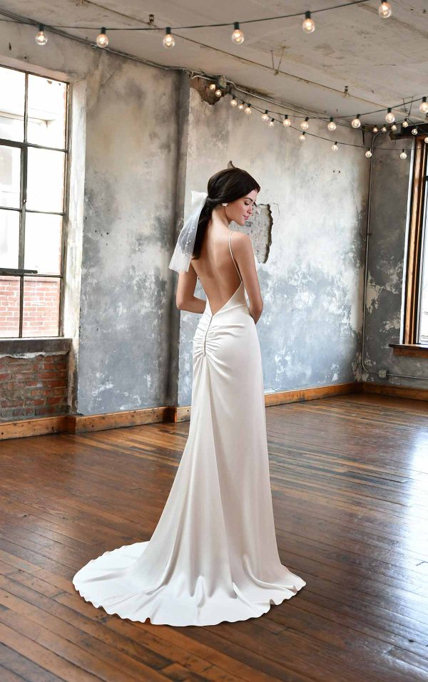 SIMPLE SATIN WEDDING DRESS WITH COWL NECKLINE by All Who Wander - Image 2
