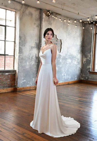 SIMPLE SATIN WEDDING DRESS WITH COWL NECKLINE by All Who Wander