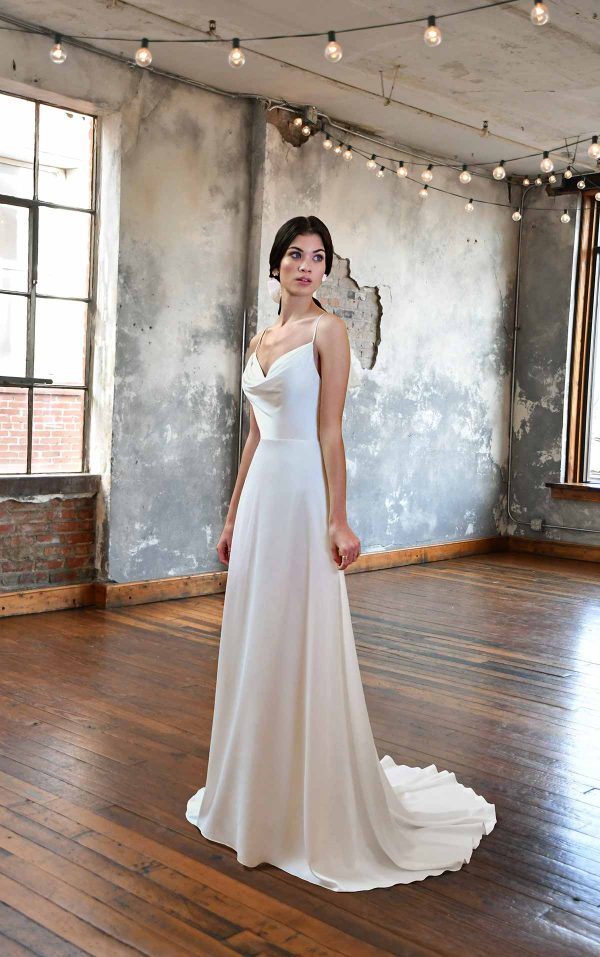 SIMPLE SATIN WEDDING DRESS WITH COWL NECKLINE by All Who Wander - Image 1