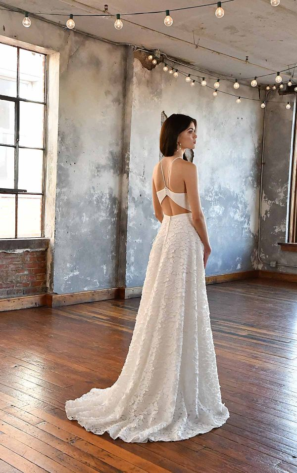 SIMPLE V-NECKLINE WEDDING DRESS WITH FLORAL SKIRT by All Who Wander - Image 2