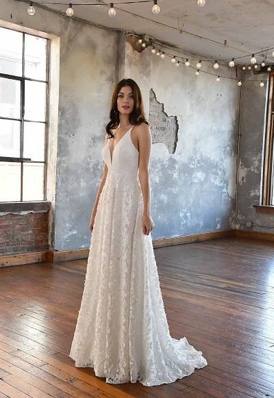 SIMPLE V-NECKLINE WEDDING DRESS WITH FLORAL SKIRT by All Who Wander