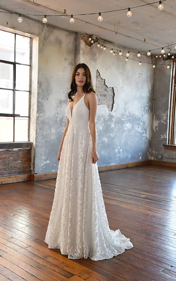 SIMPLE V-NECKLINE WEDDING DRESS WITH FLORAL SKIRT by All Who Wander - Image 1