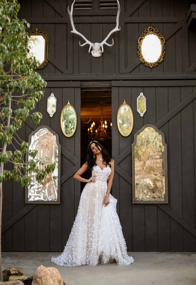 STRAPLESS PLUS SIZE A-LINE BOHEMIAN WEDDING GOWN WITH ORGANIC-SHAPED FLORAL DETAILS by All Who Wander