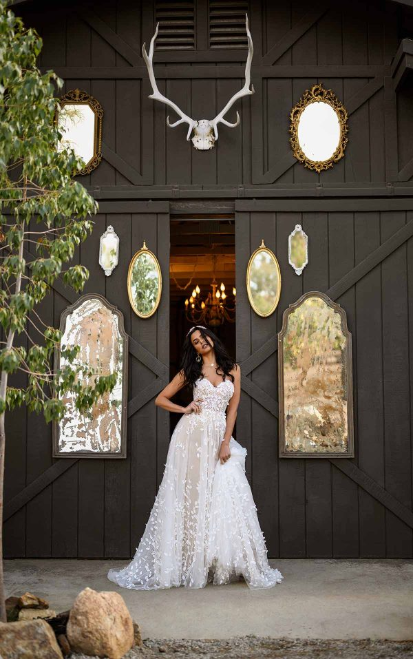 STRAPLESS PLUS SIZE A-LINE BOHEMIAN WEDDING GOWN WITH ORGANIC-SHAPED FLORAL DETAILS by All Who Wander - Image 1