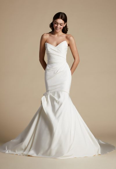 Strapless Plus Size Fit And Flare Draped Fit And Flare Wedding Dress by Allison Webb