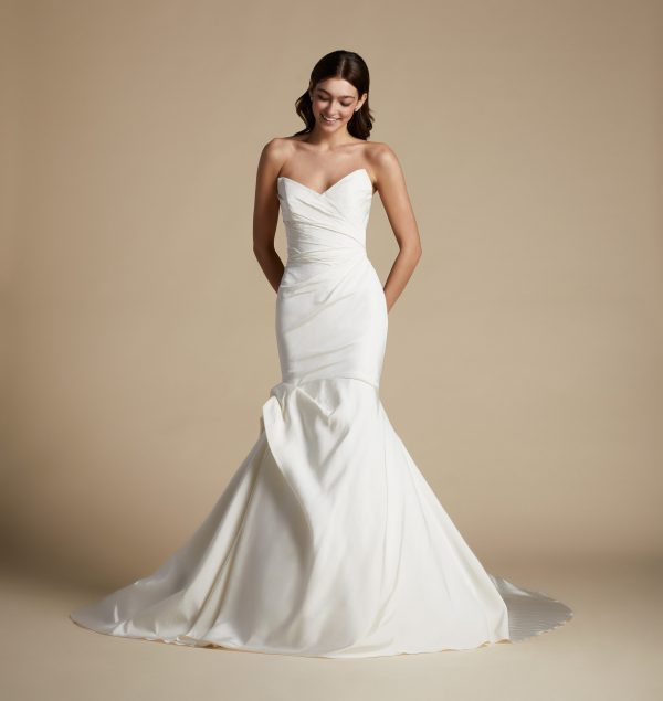 Strapless Plus Size Fit And Flare Draped Fit And Flare Wedding Dress by Allison Webb - Image 1