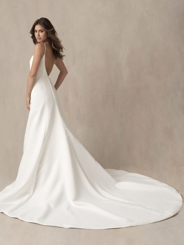 Simple Spaghetti Strap A-line Wedding Dress With Illusion Cutouts by Allure Bridals - Image 2
