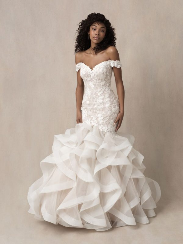 Strapless Off The Shoulder Lace Fit And Flare Wedding Dress With Ruffled Skirt by Allure Bridals - Image 1