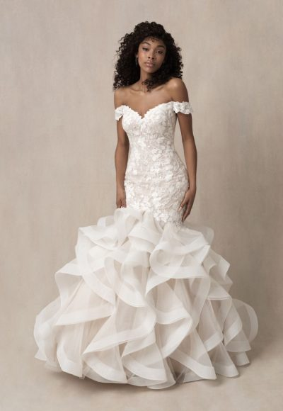 Strapless Off The Shoulder Lace Fit And Flare Wedding Dress With Ruffled Skirt by Allure Bridals