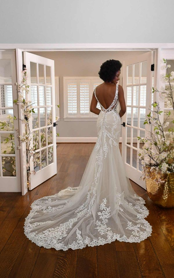 HIGH-NECK LACE WEDDING DRESS WITH SHEER DETAILS by Essense of Australia - Image 2