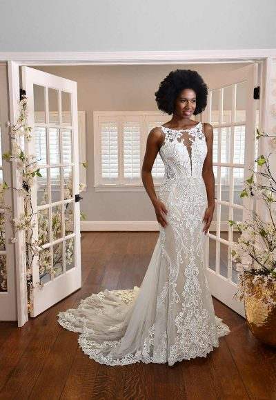 HIGH-NECK LACE WEDDING DRESS WITH SHEER DETAILS by Essense of Australia