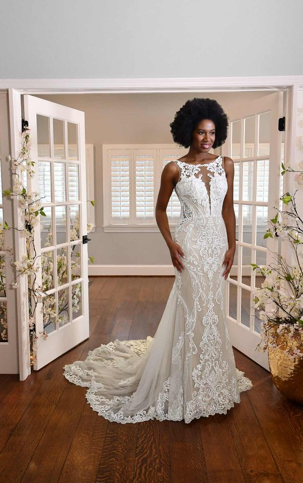 HIGH-NECK LACE WEDDING DRESS WITH SHEER DETAILS by Essense of Australia - Image 1