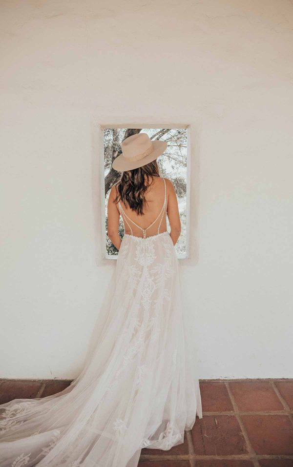 Lace V-Neckline Wedding Dress With Sheer Bodice by Essense of Australia - Image 2