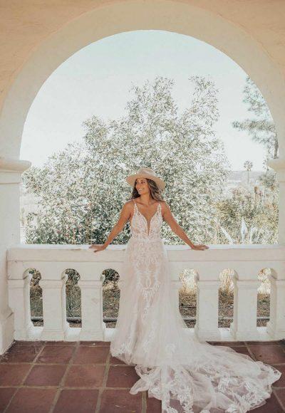 Lace V-Neckline Wedding Dress With Sheer Bodice by Essense of Australia