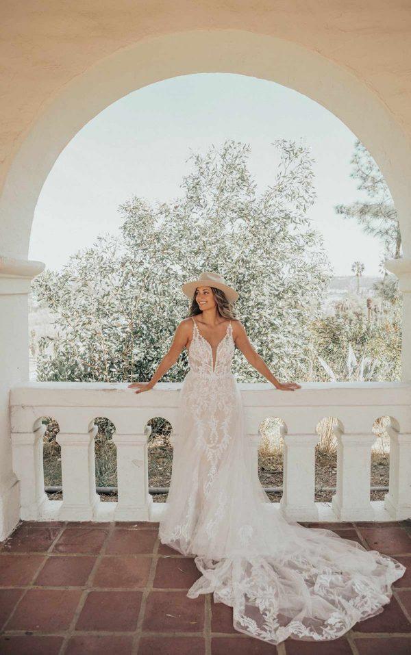 Lace V-Neckline Wedding Dress With Sheer Bodice by Essense of Australia - Image 1