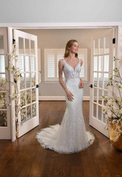LEAFY LACE FIT-AND-FLARE WEDDING DRESS WITH BACK DETAILS by Essense of Australia