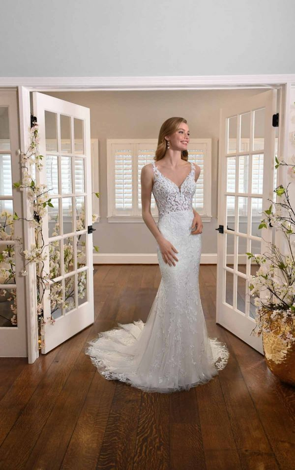LEAFY LACE FIT-AND-FLARE WEDDING DRESS WITH BACK DETAILS by Essense of Australia - Image 1