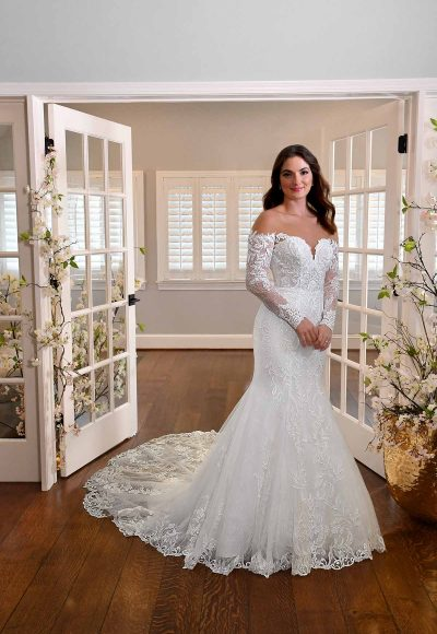 LONG-SLEEVE FIT-AND-FLARE WEDDING DRESS WITH DEFINED BUSTLINE by Essense of Australia