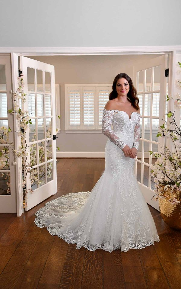 LONG-SLEEVE FIT-AND-FLARE WEDDING DRESS WITH DEFINED BUSTLINE by Essense of Australia - Image 1
